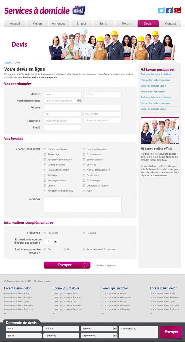 Refonte de site internet de services peax webdesign for Devis graphiste